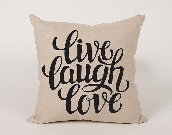 Live Laugh Love V 2 Cotton Throw Pillow Cover 16x16 By Daneeyo Live Laugh Love Personalized Prints Laugh