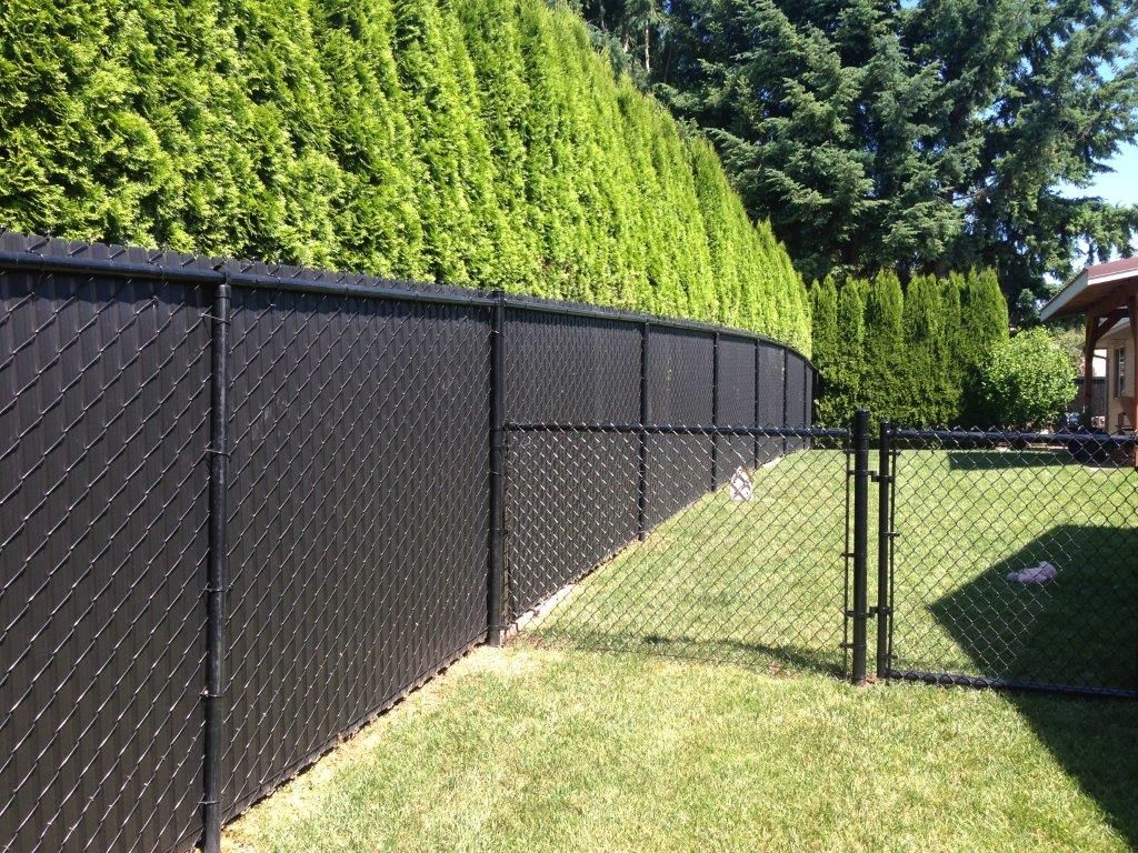 Privacy Slatted Black Black Chain Link Landscaping In