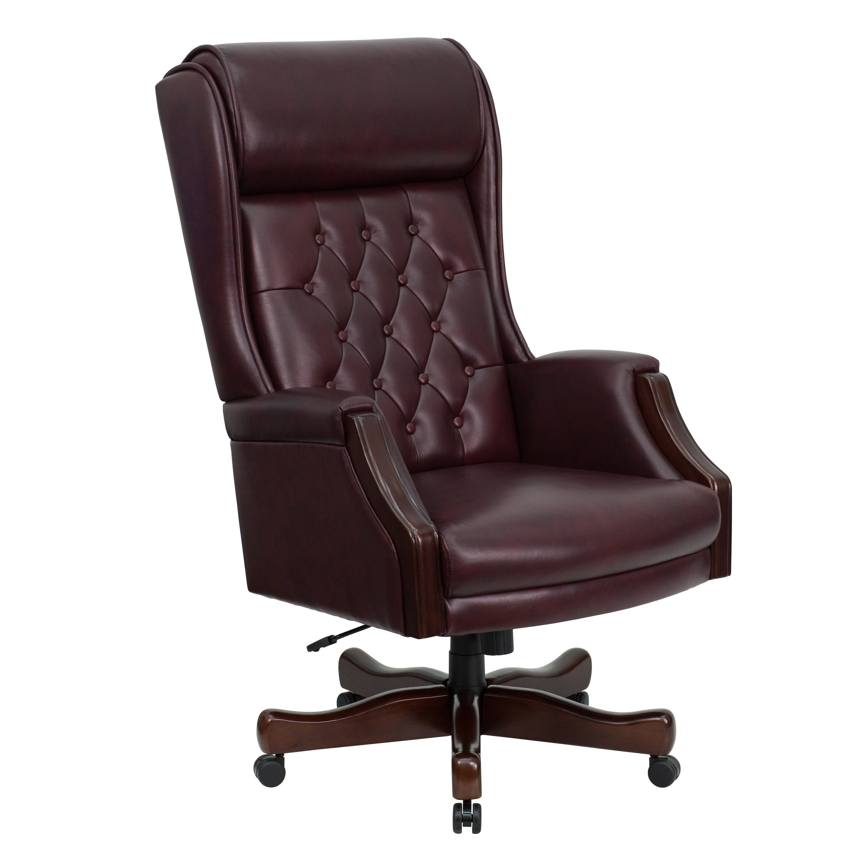 Presidential High Back Tufted Burgundy Leather Adjustable ...