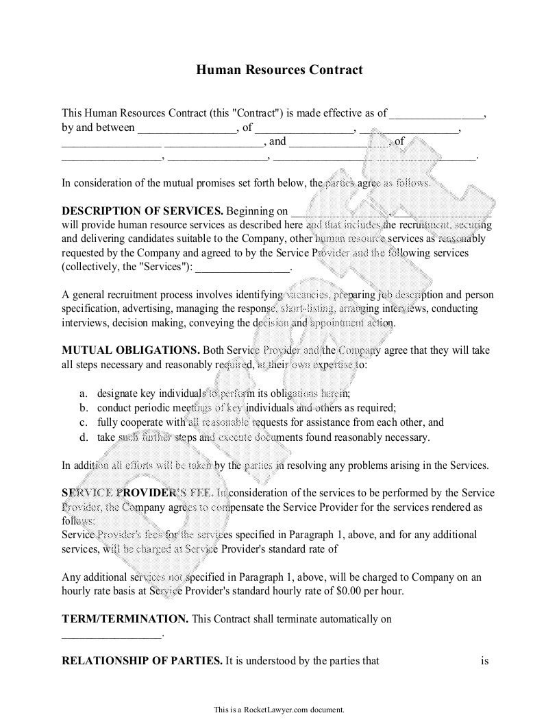 Human Resources Contract  Hr Contract Agreement Form With Sample