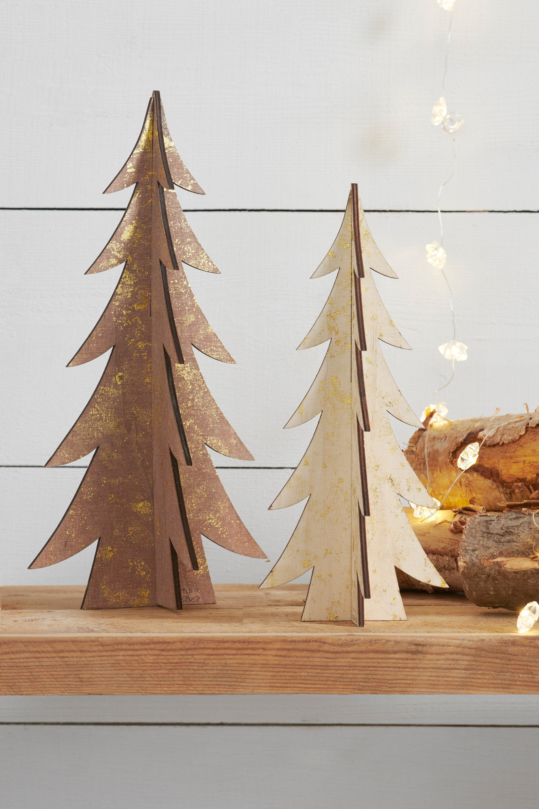 Next Set Of 2 Slotted Wooden Trees Natural Wooden Tree Shop Decoration Christmas Decorations