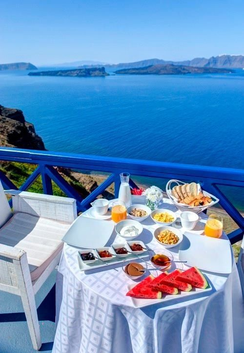 Good morning! Breakfast with a view, Santorini, Greece!!