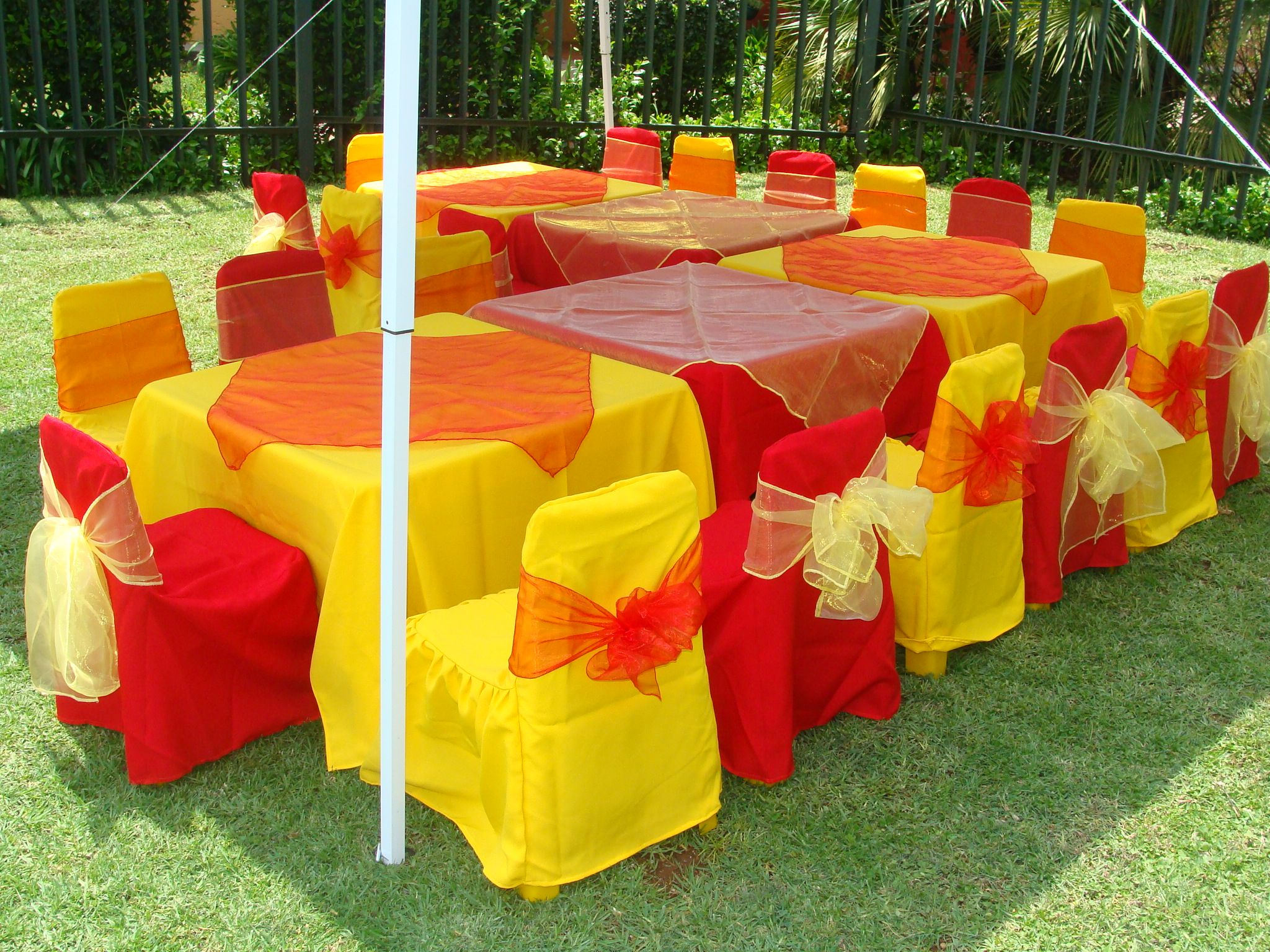 Red And Yellow Kids Table Cloths, Overlays, Chair Covers And Tiebacks