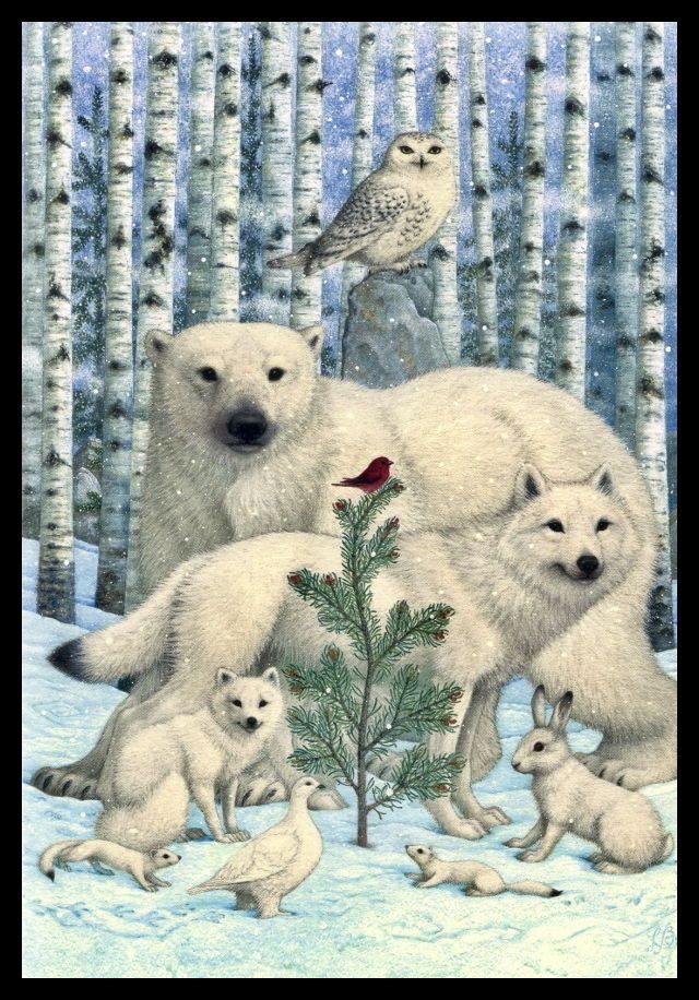 Lynn Bywaters FOX-OWL-POLAR BEAR-RABBIT-STOAT-WOLF Christmas ...