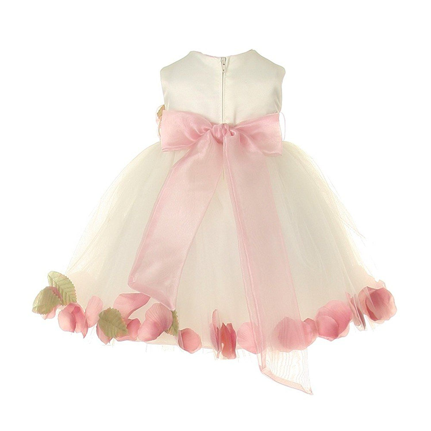 c00e43dcdaa Baby Girls Ivory Dusty Rose Petal Adorned Satin Tulle Flower Girl Dress 6- 24M  Amazon.co.uk  Clothing