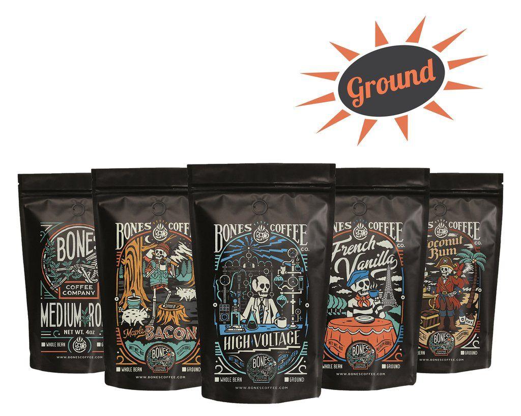 Bones Coffee 5 Bag Sample Pack (Ground) Coffee, Coffee