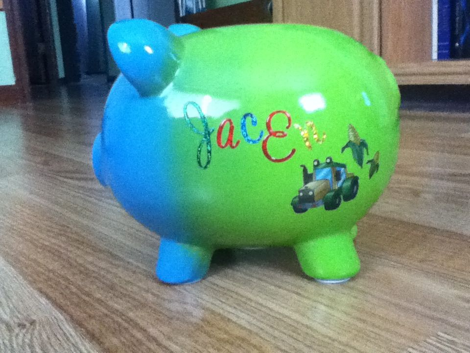 Personalized Piggy Bank Using Scrapbook Letters And Embellished