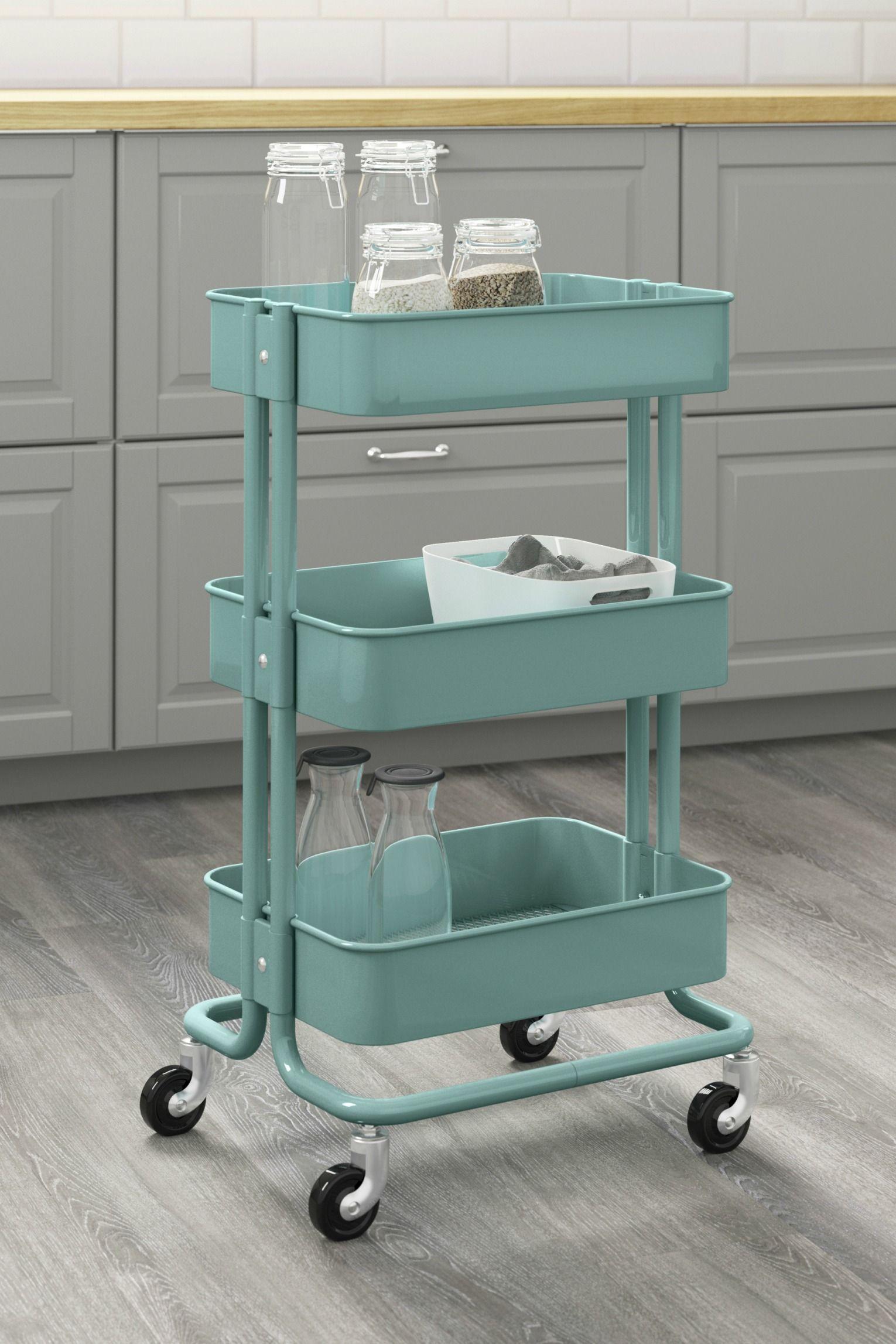 Home organization made easy! The IKEA RÅSKOG utility cart has three ...
