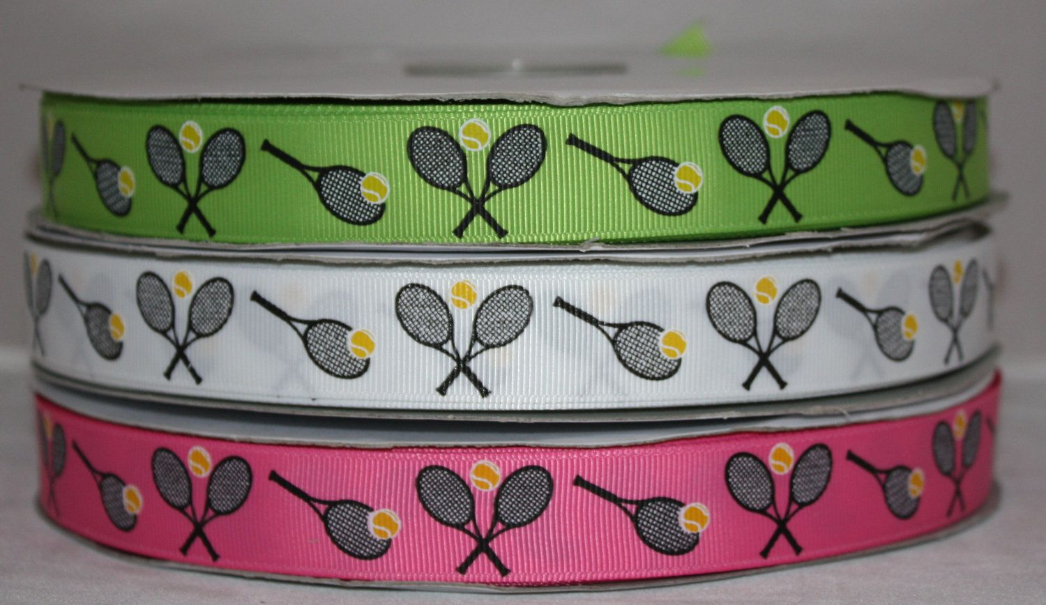Tennis Sports Team Racket Ball Grosgrain Ribbon for Hairbows 3 yards. $4.00, via Etsy.