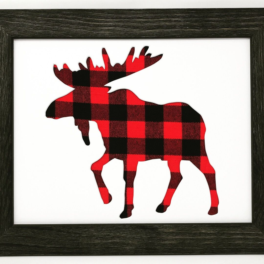 rustic black wood frame. Rustic Black Solid Wood Picture Frame With Moose In Buffalo Plaid Cloth Background N