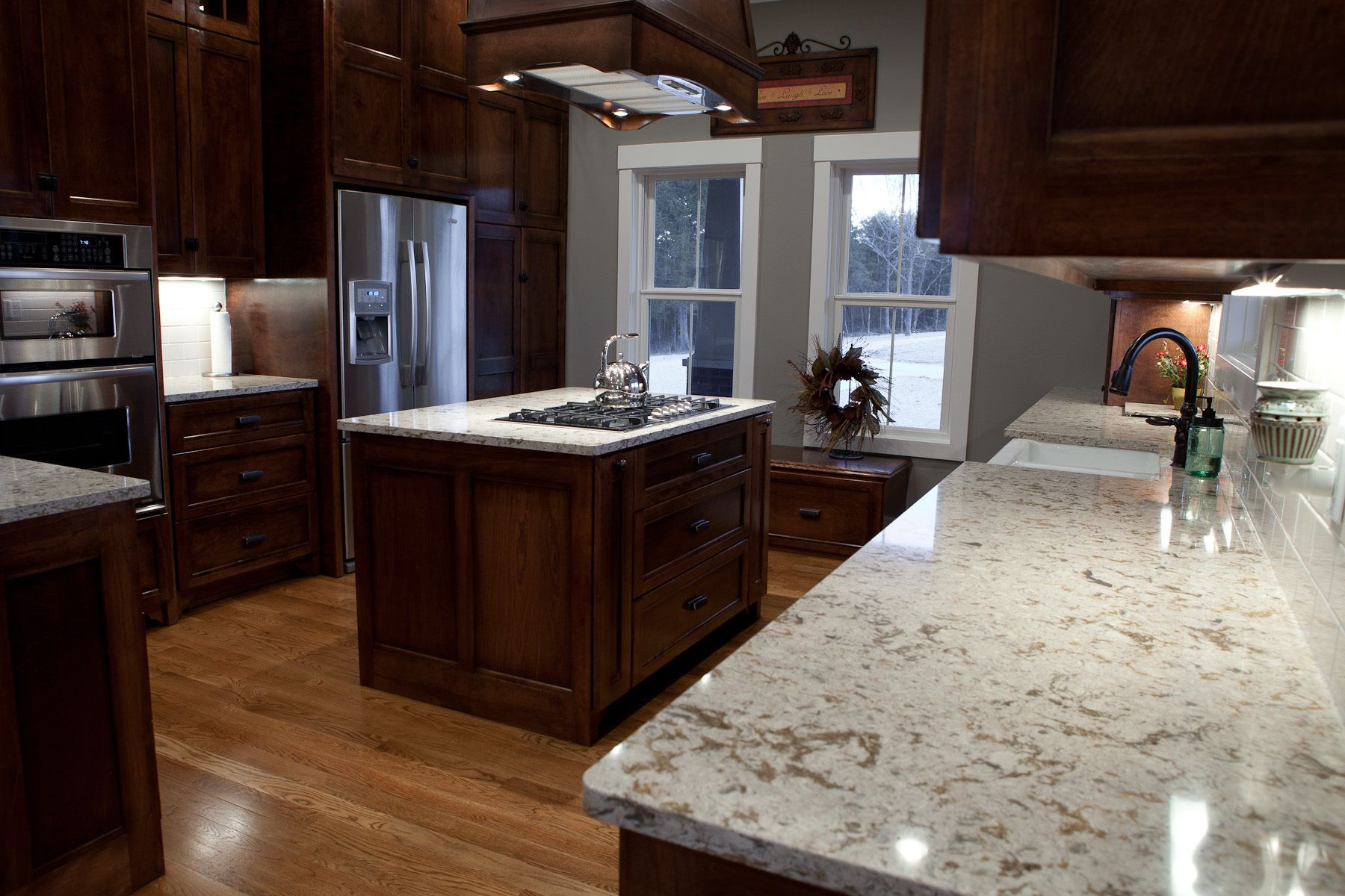 Wonderful Wooden Range Hood Over White Granite Cambria