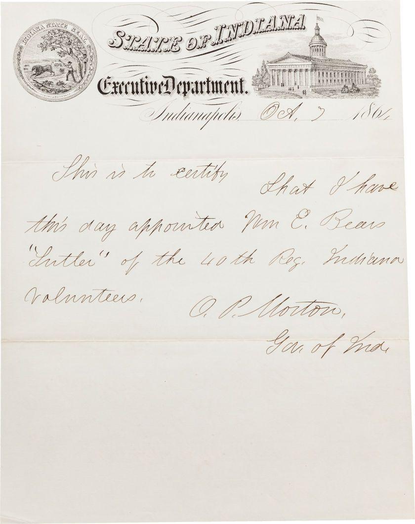 AutographsStatesmen, Governor Oliver P. Morton Autograph