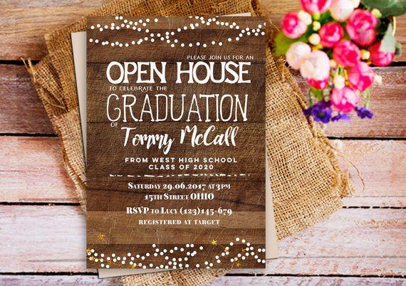 open house graduation invitation, rustic wood graduation invitation - how to create graduation invitations