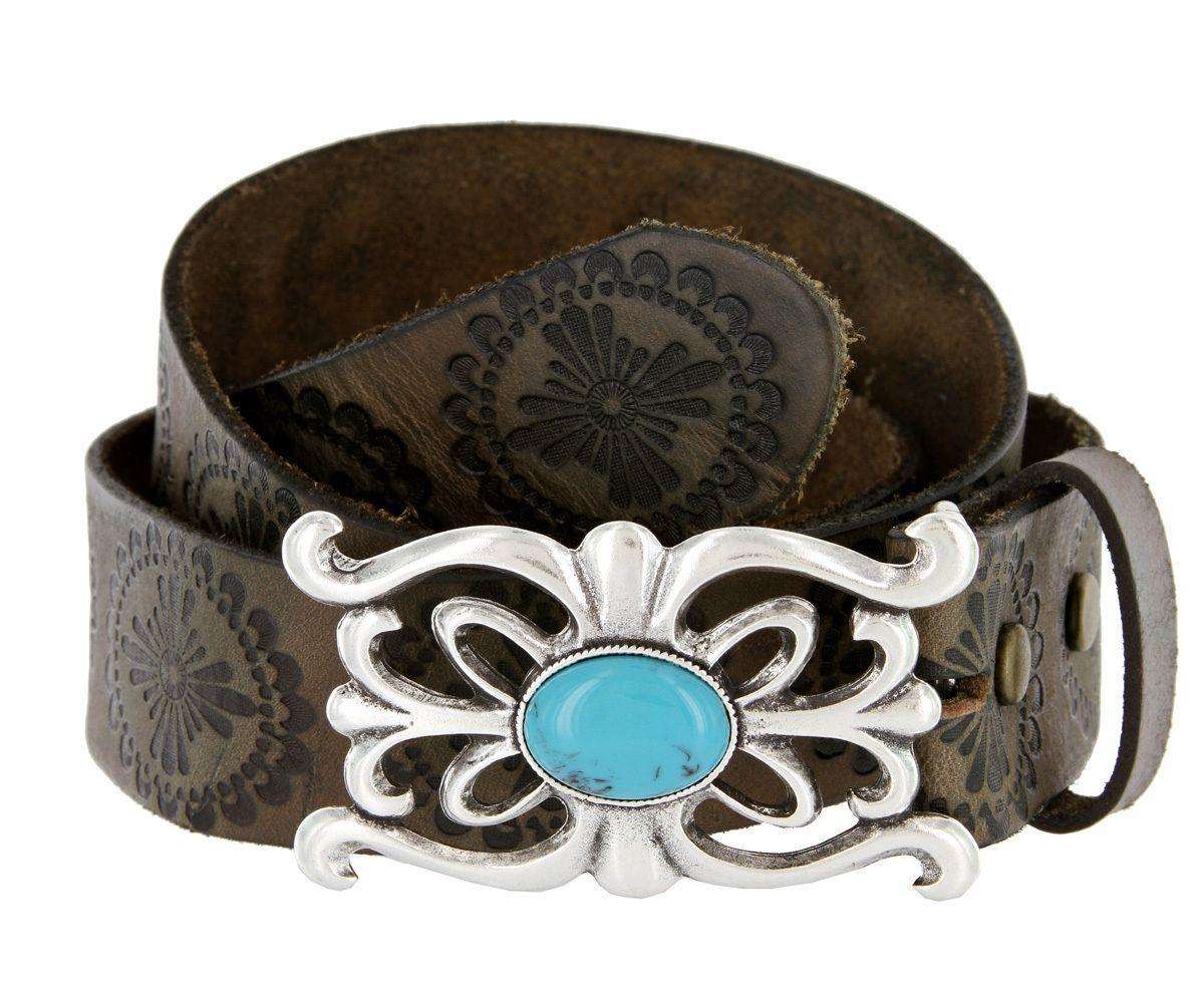 "Turquoise Stone Belt Buckle Vintage Tooled Full Leather Belt 1-1/2"" Wide - Purses.com"