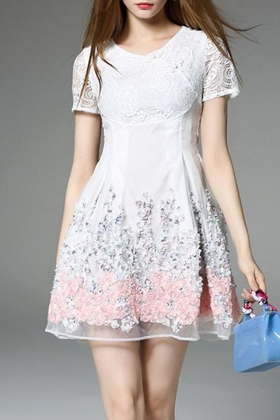 #AdoreWe #Dezzal Dezzal Lace Panel Short Flare Dress - AdoreWe.com