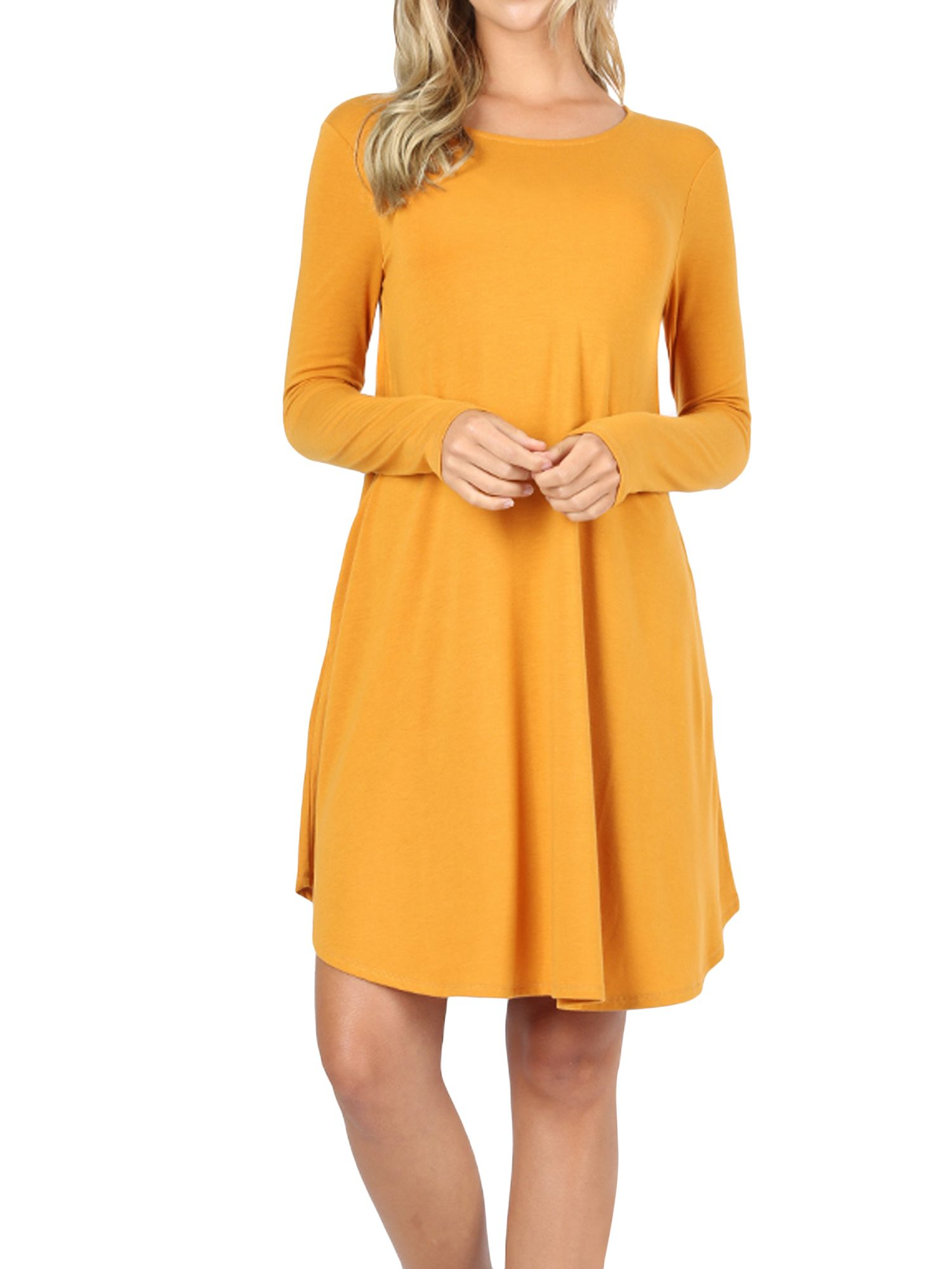 Thelovely Women Long Sleeve Round Neck A Line Pleated Knee Length Tunic Dress With Side Pockets Dk Purple S Walmart Com Women Long Sleeve Knee Length Tunic Dresses [ 2000 x 1500 Pixel ]