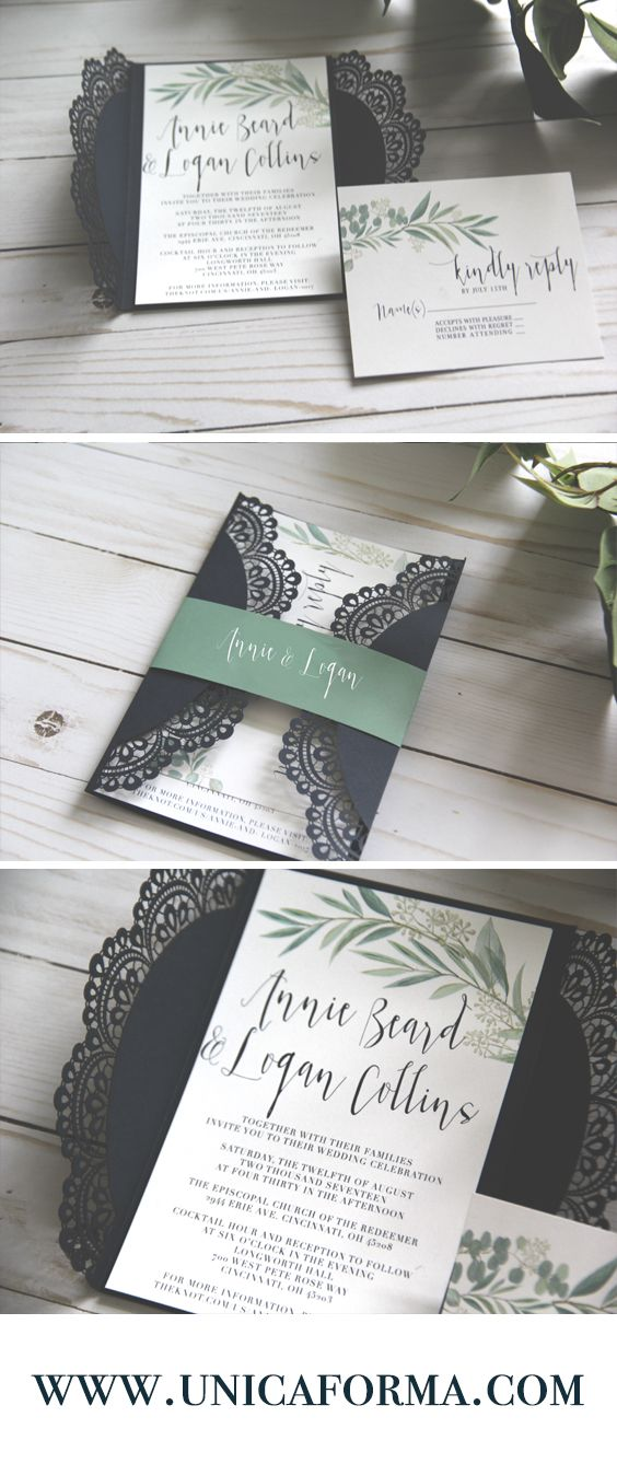wedding renewal invitation ideas%0A Greenery wedding  Eucalyptus invitations  Lace wedding invitations  Navy  and green wedding  Navy