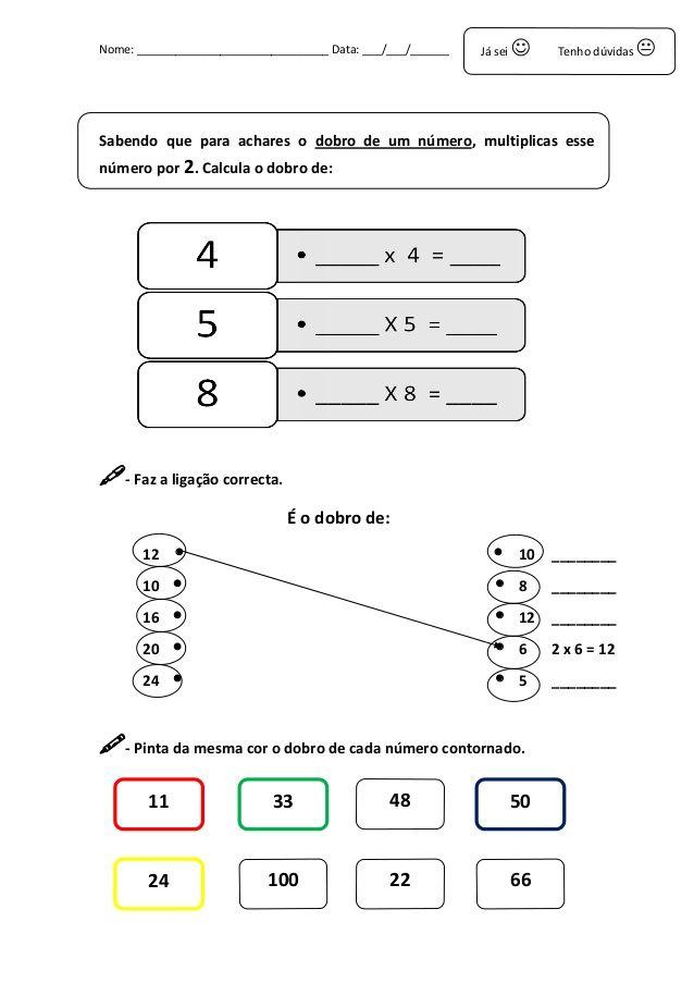 Ficha De Cálculo Do Dobro E Metade Matematic Math E Teaching