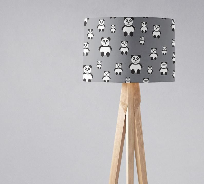 Panda Lampshade Grey Nursery Lamp
