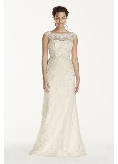 Illusion Cap Sleeve Lace Applique Sheath Gown MS251124 | L&C Wedding ...