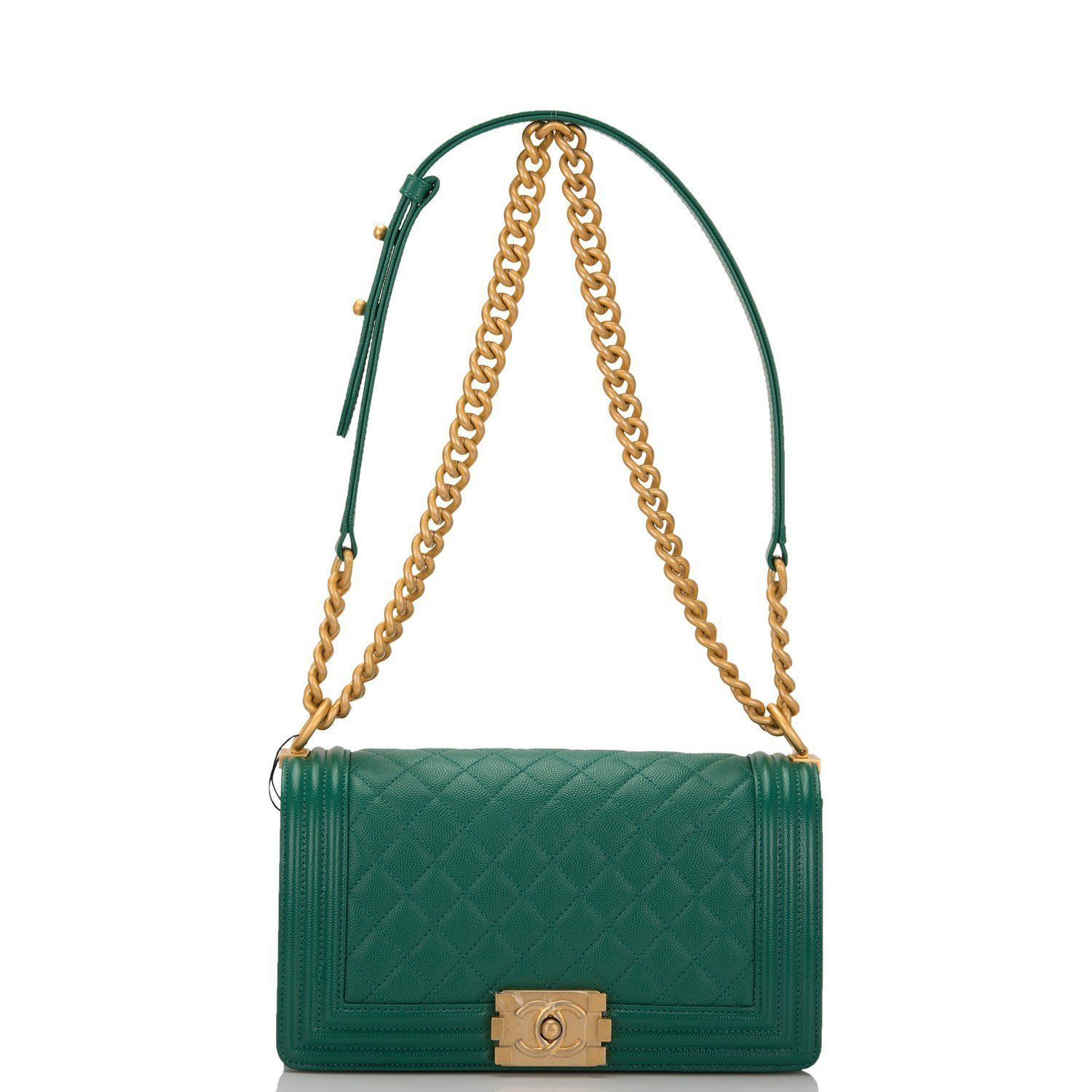 b53887d68f71 Chanel Green Caviar Quilted Medium Boy Bag in 2018