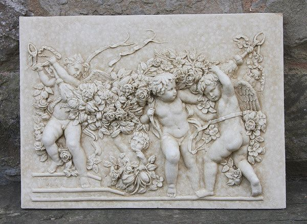Garden Wall Plaques   Cherub U0026 Angel Wall Plaques Have A Look At Four  Cherubs Wall Plaque Cherubs And Angels Beautifully Crafted In Bonded Marble  For The ...
