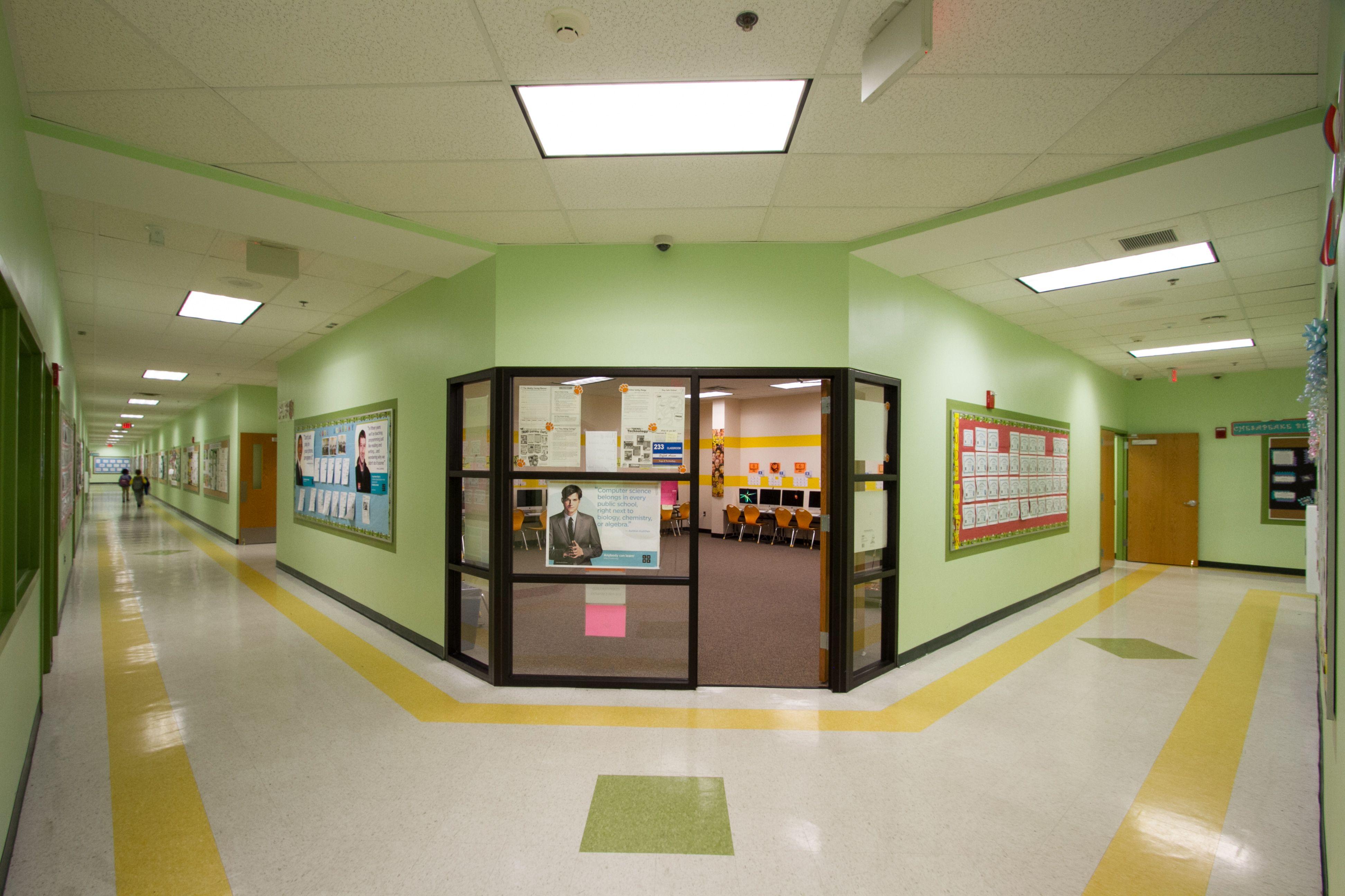 Elementary school hallway with computer lab