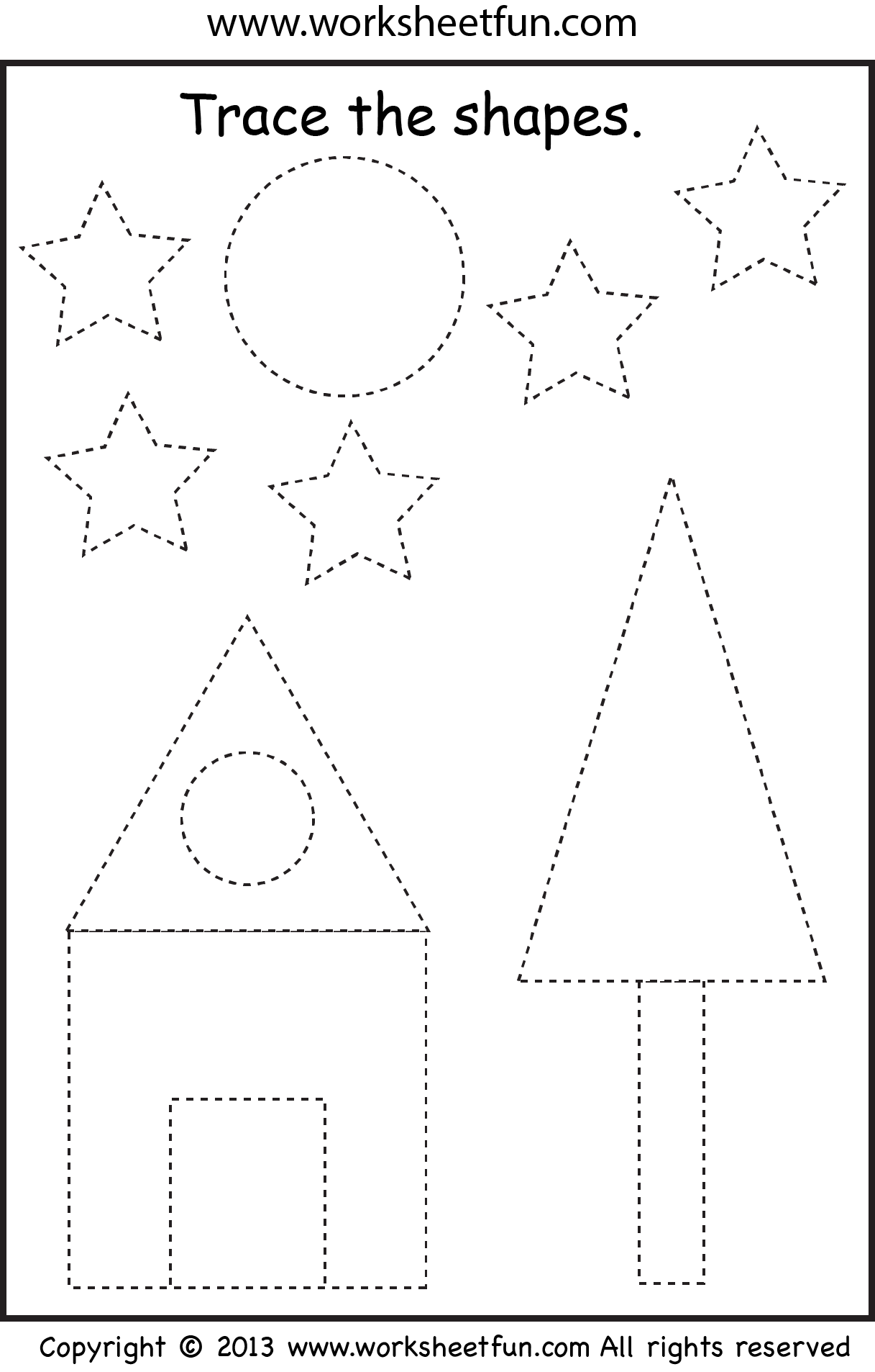 preschool shape tracing worksheet preschool worksheets tracing shapes shapes worksheets. Black Bedroom Furniture Sets. Home Design Ideas