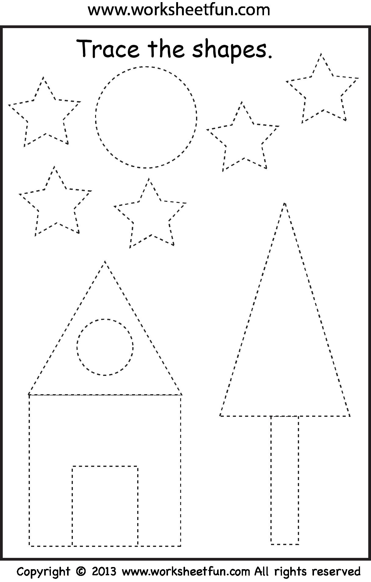 preschool shape tracing worksheet pinterest more preschool shapes tracing worksheets and. Black Bedroom Furniture Sets. Home Design Ideas