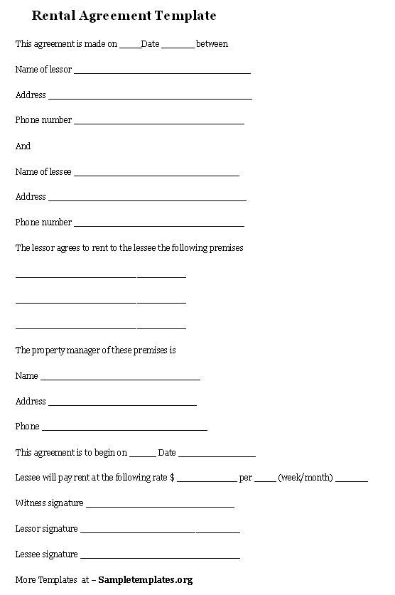 Rental Agreement Template Rental Agreement Template  Agreement