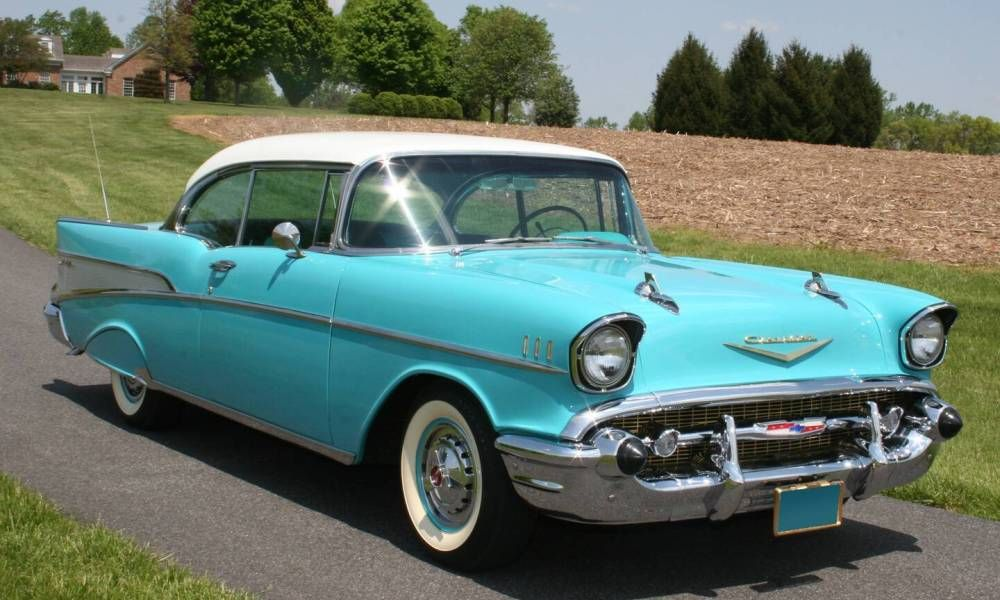 Turquoise White 1957 Chevy Bel Air 2 Door Hardtop Car