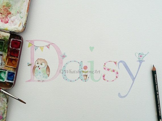 Watercolour Name Art Original Hand Painted Name Unique Baby Gift Girls Room Decor Unique Baby Girl Gifts Baby Girl Names Unique Name Drawings