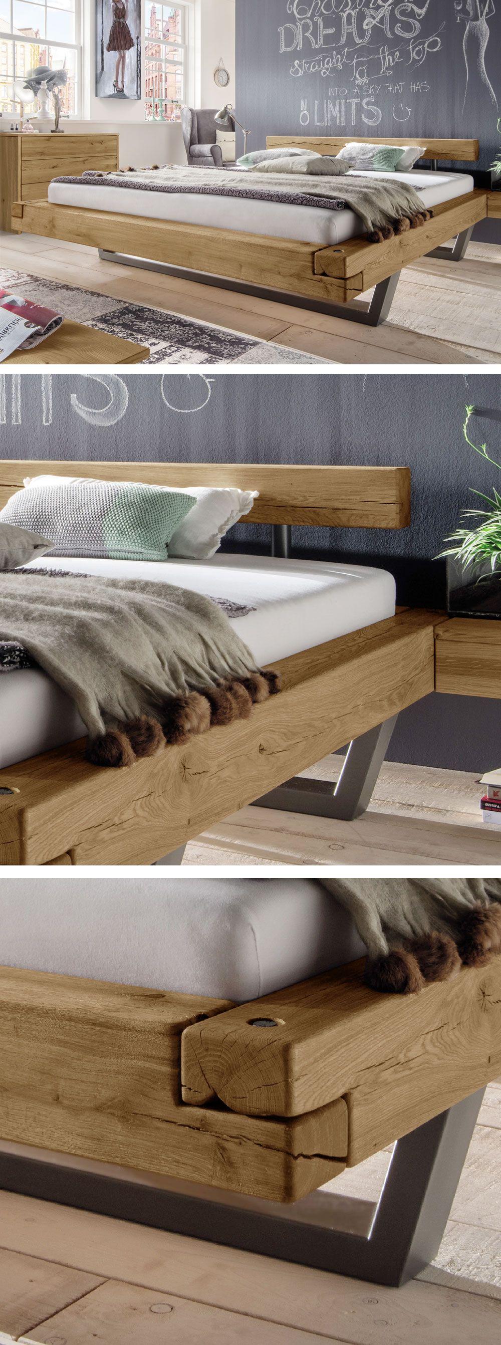Hochwertiges Balkenbett im angesagten Industrial Style Natürliche Risse & Astlöcher für besonderen Charme
