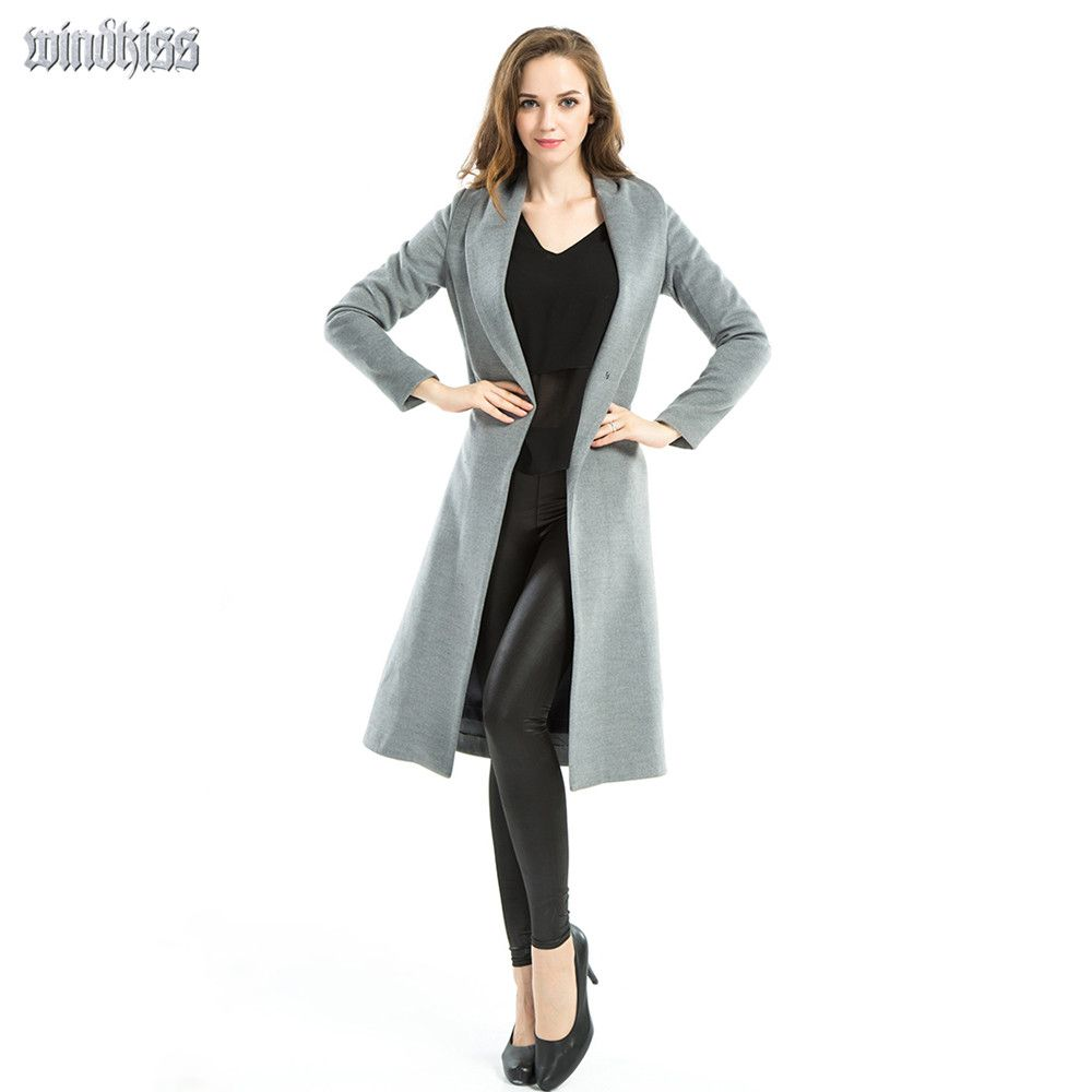 NEW women's winter coats ladies fashion gray long female brand ...