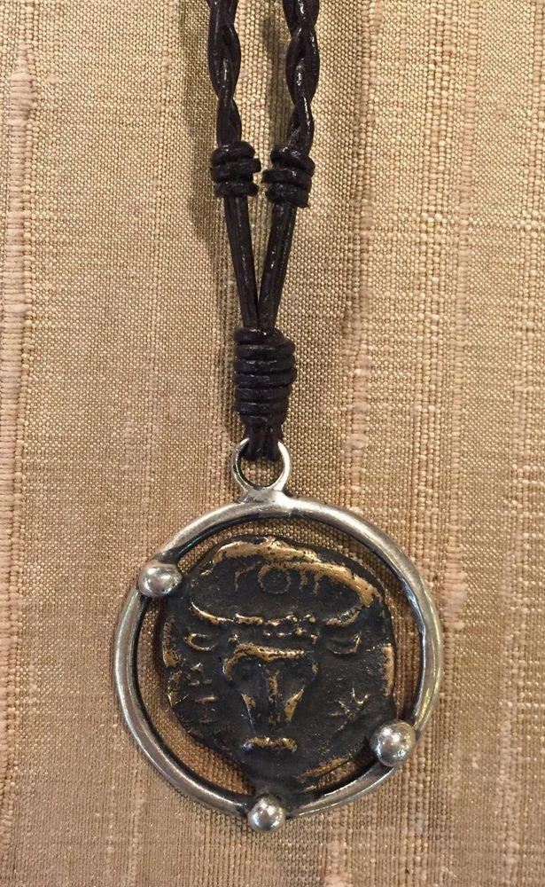 Ancient Coin Necklace Sterling Silver 18K GP Braided Leather 30 inches Long | eBay