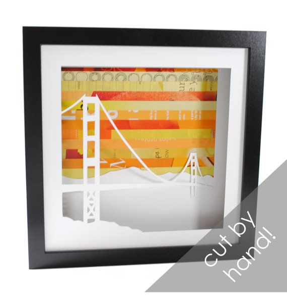 Golden Gate Bridge shadowbox- made from recycled magazines, San ...