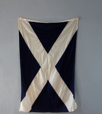 Vintage Linen Navy and White Nautical Signal Flag