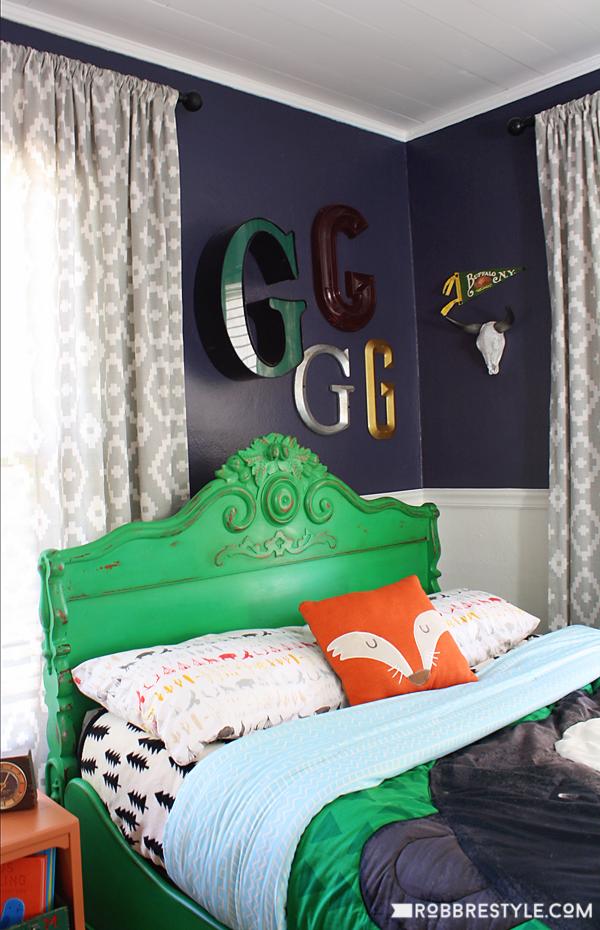 DIY Vintage Camping Boy's Bedroom Design by RobbRestyle.com