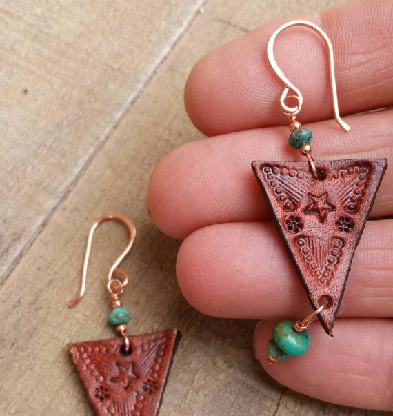 Leather Earrings - Hand Stamped - Turquoise and Copper ...