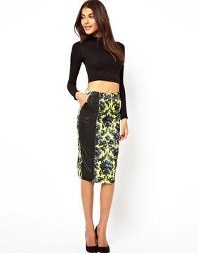 ShopStyle.com.au: ASOS Printed Pencil Skirt with PU Panel $81.54