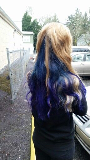 Blonde Balayage On Strawberry Blonde Hair With Blue Into Purple Fashion Shade Underneath Hair By Strawberry Blonde Hair Blonde Balayage Strawberry Blonde