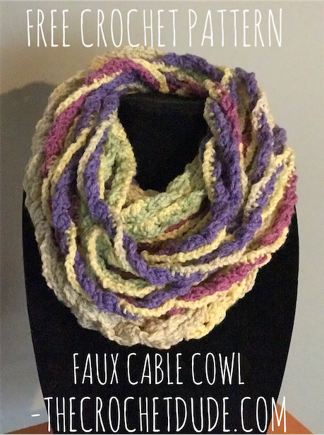 Free Crochet Pattern Faux Cable Cowl The Crochet Dude Moogly