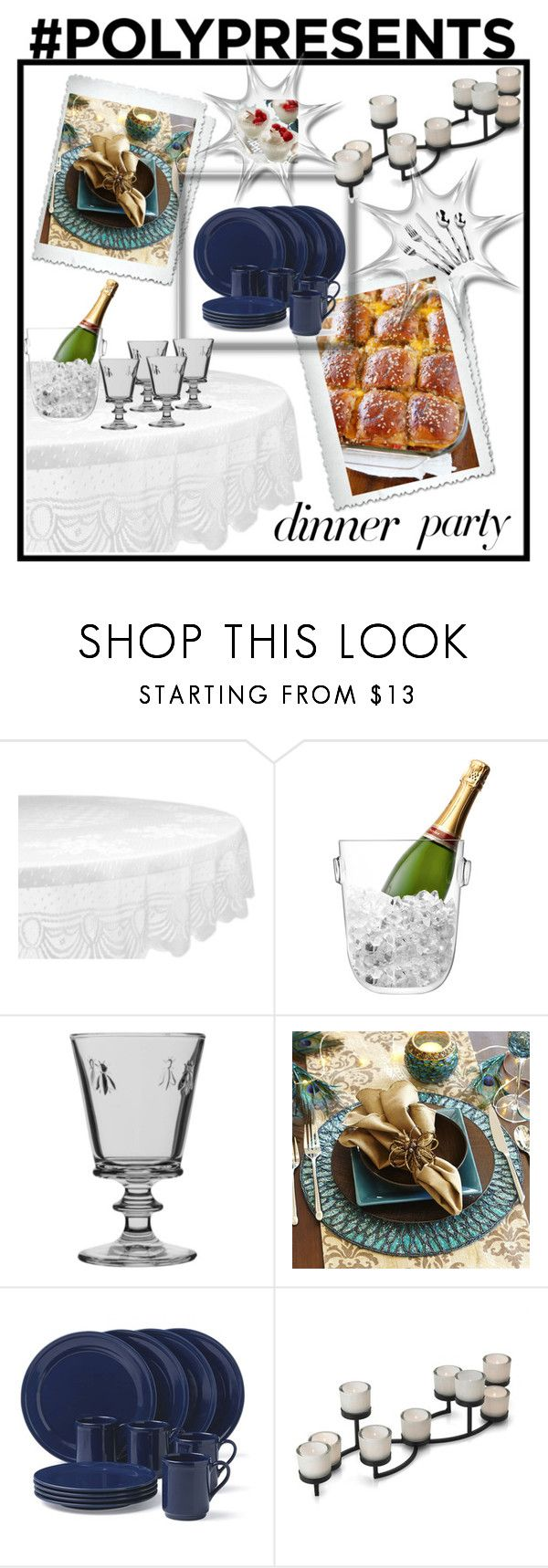 """""""#PolyPresents: Dinner Party"""" by husic-m ❤ liked on Polyvore featuring interior, interiors, interior design, home, home decor, interior decorating, Design Imports, LSA International, La Rochère and Pier 1 Imports"""