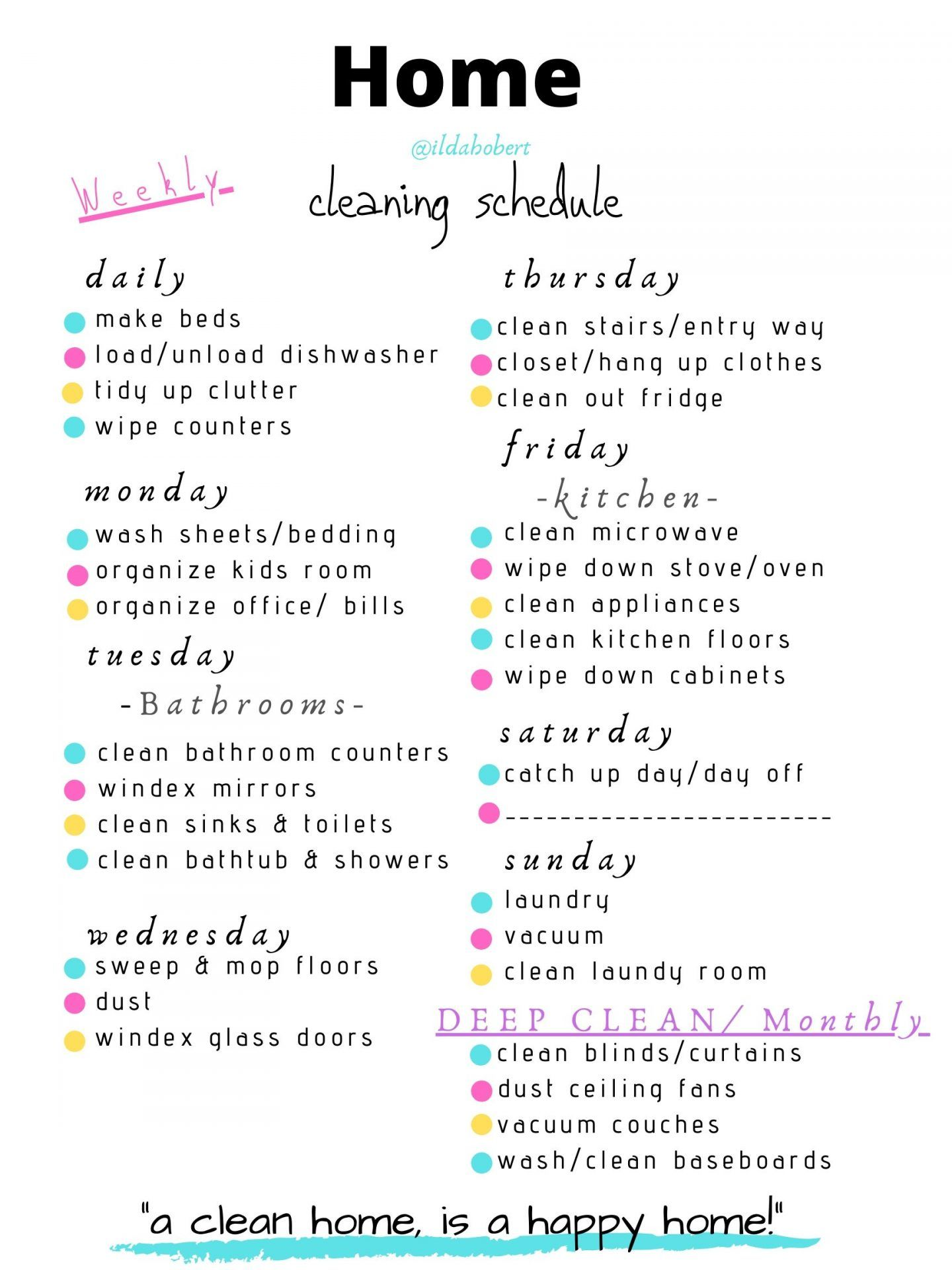 Simple Printable Weekly Cleaning Schedule   World of Modern Mom ...