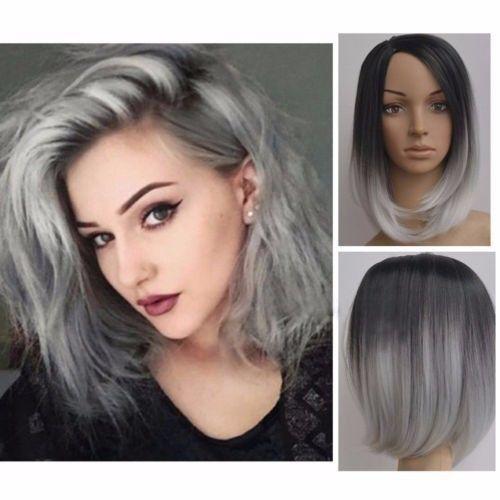 Women-Heat-Resistant-Short-Straight-Full-Wig-Black-Ombre-Grey-Hair-Cosplay-28CM