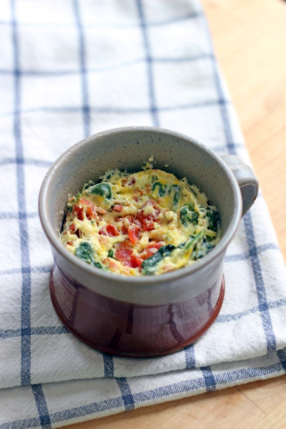 Spinach and Cheddar Microwave Quiche in a Mug Recipe