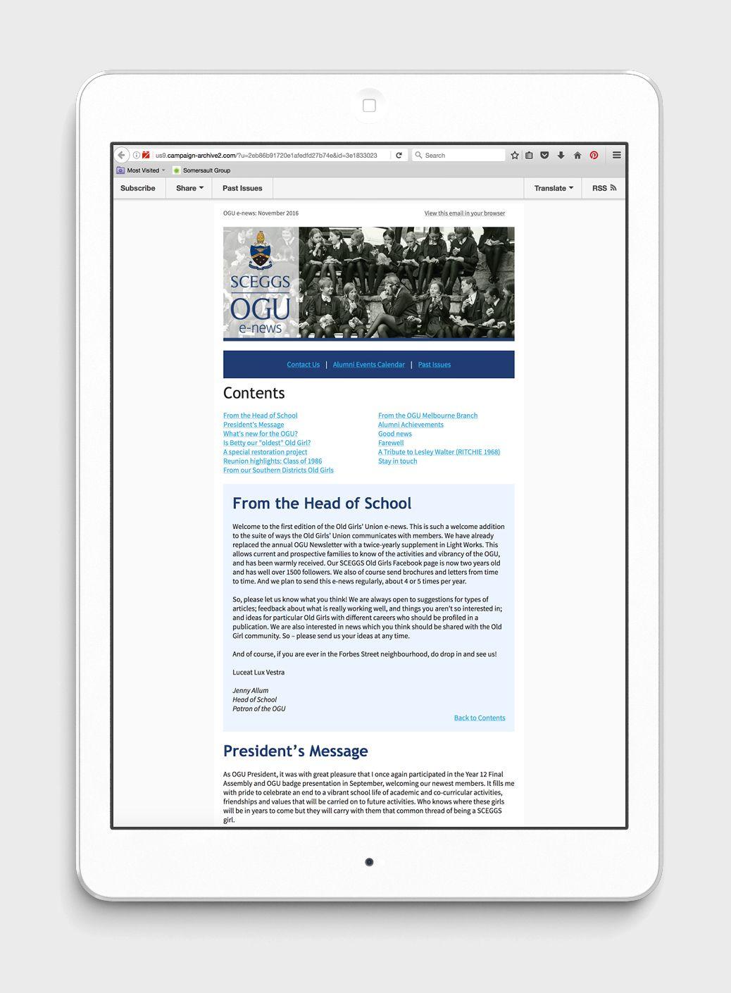 A Campaign Monitor template design for SCEGGs e-news