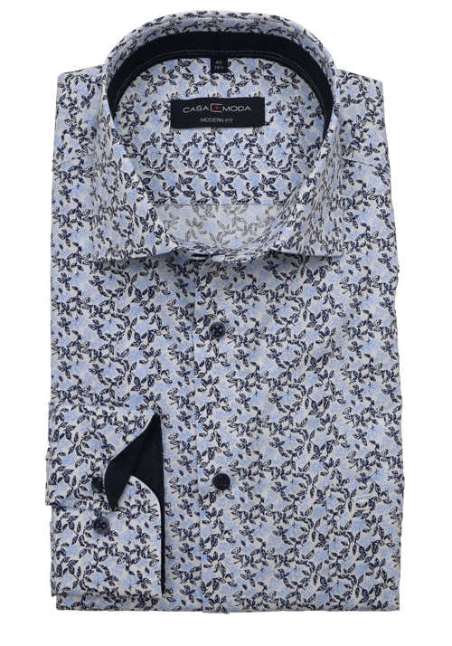 Casamoda Modern Fit Hemd Langarm Haifischkragen Muster Blau In 2020 Hemd Hai Langarm