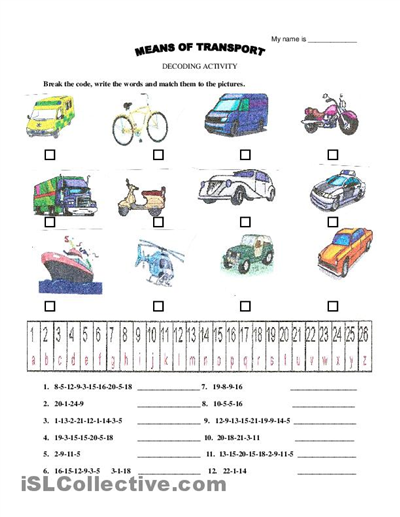 Means Of Transport Vocabulary Decoding Activity English