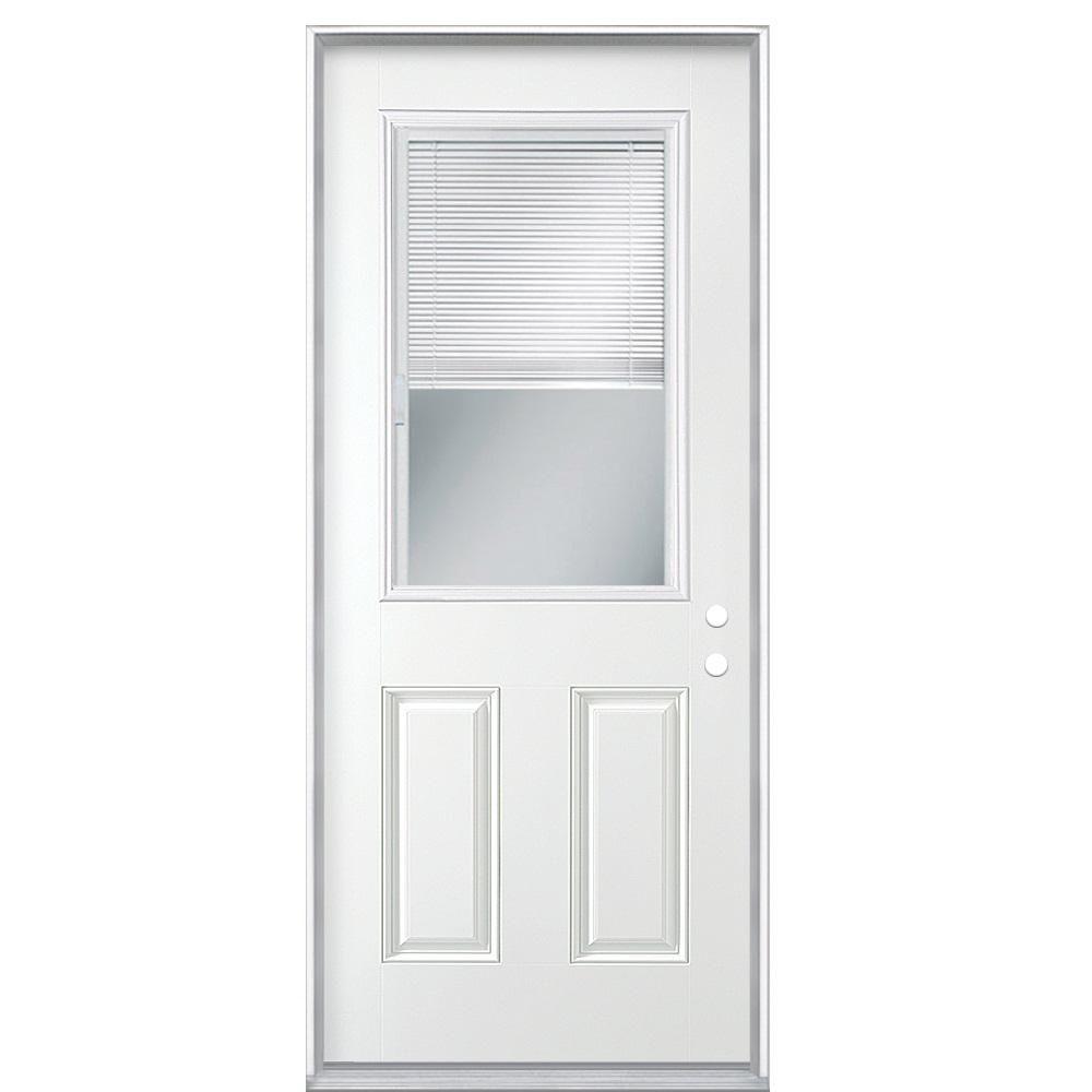 Masonite 32 In X 80 In Premium 1 2 L Mini Blind Primed Steel Prehung Front Door With No Brickmold 27853 The Home Depot Mini Blinds Entry Doors Masonite